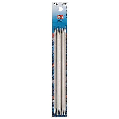 Спицы Prym алюминиевые чулочные (5 шт), диаметр 5 мм, длина 20 см, жемчужно-серый запчасти quechua алюминиевые дуги 4 5 м ø 8 5 мм сегменты 30 см