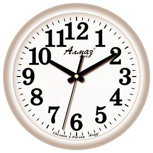 цена на Часы настенные кварцевые Алмаз B90 серый/белый
