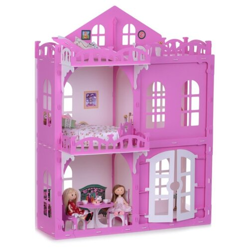 Купить KRASATOYS кукольный домик Элизабет 000289/000290, белый/розовый, Кукольные домики