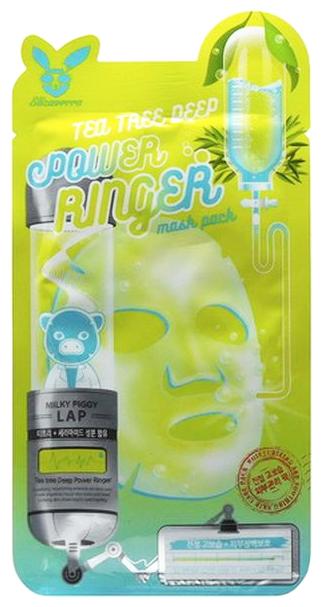Elizavecca Успокаивающая тканевая маска с экстрактом чайного дерева Tea Tree Deep Power Ringer Mask Pack