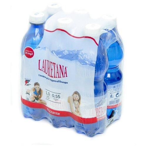 Вода минеральная Lauretana газированная, ПЭТ, 6 шт. по 0.5 л