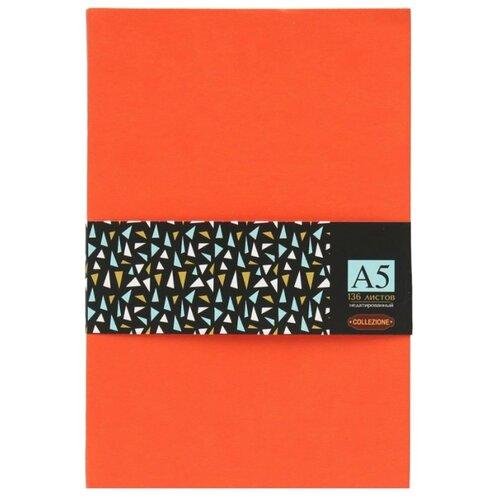 Ежедневник Collezione Колор-2недатированный, искусственная кожа, А5, 136 листов, оранжевый/черный срезЕжедневники, записные книжки<br>