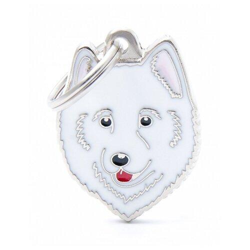 Адресник на ошейник My Family Colors Friends Самоедская собака белый/серебристый