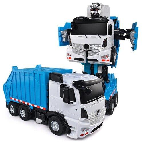 Купить Робот-трансформер Jia Qi Troopers Velocity Мусоровоз синий/белый, Роботы и трансформеры