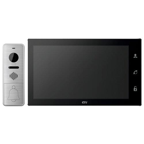 Комплектная дверная станция (домофон) CTV CTV-DP4102AHD серебро (дверная станция) черный (домофон)