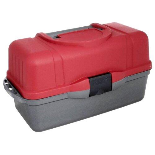Ящик для рыбалки HELIOS трехполочный 43х22х24см красный/серый