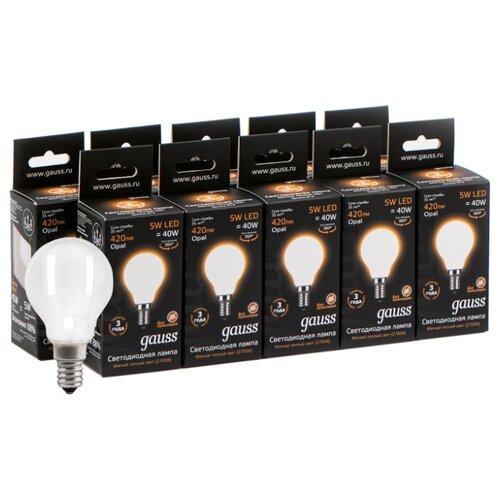 Фото - Упаковка светодиодных ламп 10 шт gauss 105201105, E14, 5Вт упаковка светодиодных ламп 10 шт gauss 105101207 e14 g45 6 5вт