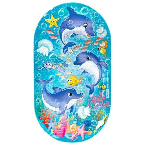 Коврик для ванной Valiant Дельфинчики голубой valiant мини коврик для ванной комнаты слоник на присосках 4 шт