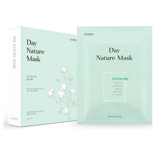 ELMOLU тканевая маска охлаждающая Day Nature Mask Cooling day, 23 г, 7 шт. elmolu тканевая маска наполняющая энергией day nature mask energizing day 23 г 7 шт