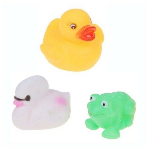Купить Набор для ванной Крошка Я Уточка, лебедь, лягушка (616134) желтый/белый/зеленый, Игрушки для ванной