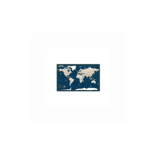 Купить Политическая карта мира в морском стиле. Настенная карта с антибликовой ламинацией, 120x80 см (синяя), Гео-Трейд, Учебные пособия