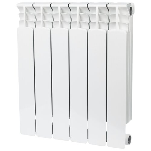Радиатор секционный биметаллический STOUT Space 500 x6 6 секций, подключение универсальное боковое RAL 9016 секционный радиатор stout space 500 биметаллический srb 0310 050009 белый 9 секций