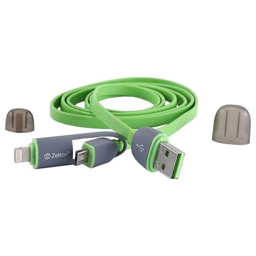Кабель Zetton Life Style Flat Wire USB - Lightning/microUSB 1 м зеленыйКомпьютерные кабели, разъемы, переходники<br>