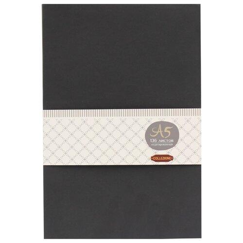 Купить Ежедневник Collezione Колор-1недатированный, искусственная кожа, А5, 136 листов, черный/синий срез, Ежедневники, записные книжки