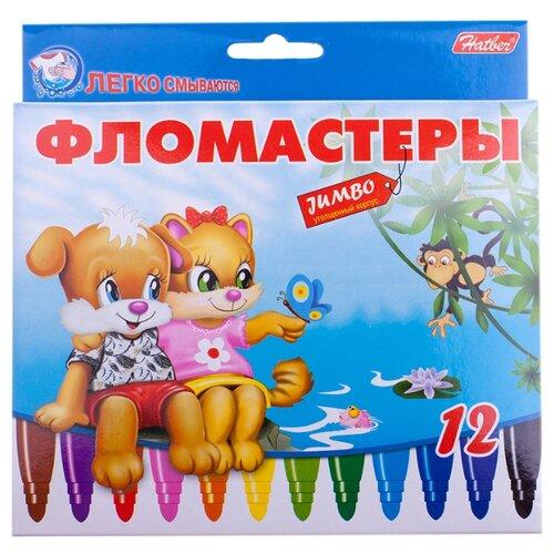 Купить Hatber Набор фломастеров Jumbo Пушистики (BFk_12231), 12 шт. разноцветные, Фломастеры