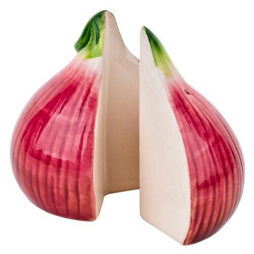 """ELFF ceramics Набор солонка и перечница """"Лук репчатый"""" 200-017 темно-розовый/зеленый/белый"""