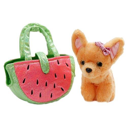 Купить Мягкая игрушка Играем вместе Собака чихуахуа в сумочке арбуз 19 см, Мягкие игрушки