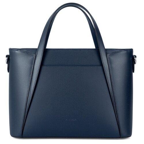 Сумка сэтчел Afina, натуральная кожа, синий сумка afina afina af004bwssy21