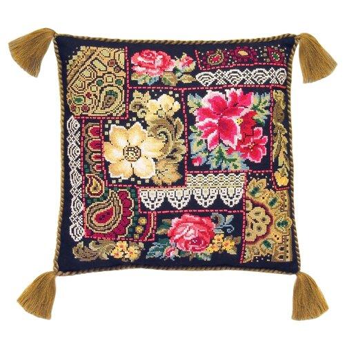 Купить Риолис Набор для вышивания крестом Подушка Цветочная композиция 40 х 40 см (761), Наборы для вышивания