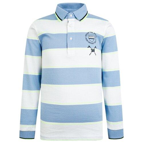 Купить Поло Mayoral размер 134, белый/голубой/полоска, Футболки и майки