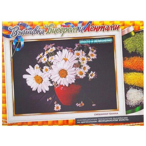 Купить Danko Toys Набор для вышивания бисером и лентами Ромашки 35 х 25 см (БВ-01Р-01), Наборы для вышивания