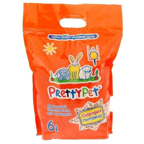 Наполнитель древесный PrettyCat PrettyPet с морковными чипсами 6 л