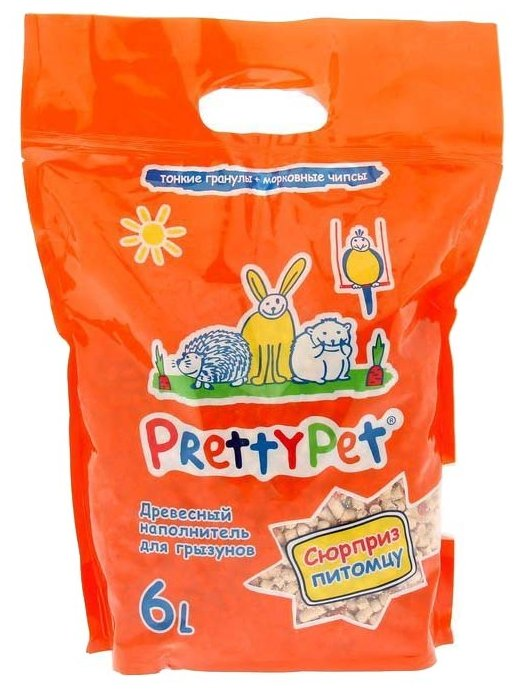 Наполнитель древесный PrettyCat PrettyPet с морковными чипсами