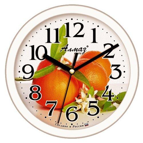 цена на Часы настенные кварцевые Алмаз E57 белый/оранжевый