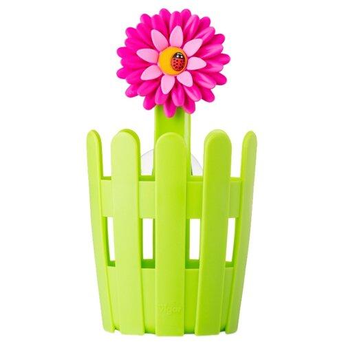 Стакан для зубных щеток Vigar 7293 зеленый/розовый