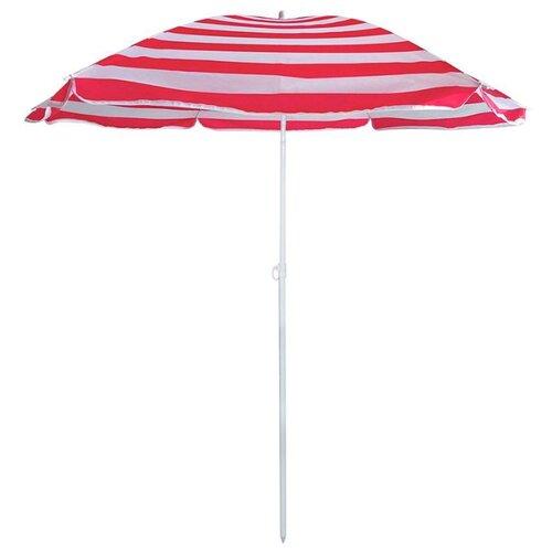 Пляжный зонт ECOS BU-68 купол 175 см, высота 205 см белый/красный цена 2017