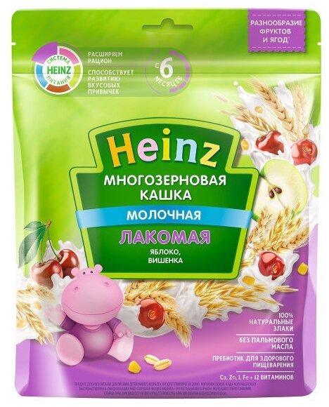 Каша Heinz молочная Лакомая многозерновая с яблоком и вишенкой (с 6 месяцев) 200 г