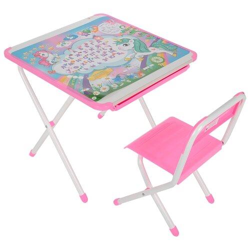 Купить Комплект ДЭМИ стол + стул Единорог (2-02) 55x56 см белый/розовый, Парты и столы