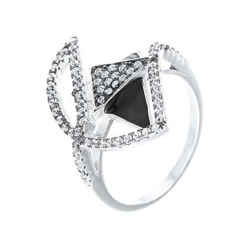 Фото - JV Кольцо с эмалью и фианитами из серебра SS-B0935RB-KO-ENAM-001-WG, размер 16.5 element47 кольцо из серебра 925 пробы с эмалью и кубическим цирконием ss b0935rb ko enam 001 wg размер 17 5