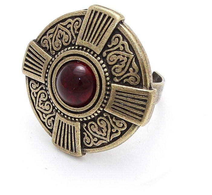 Кольцо золотого цвета с черной дорожкой Spikes