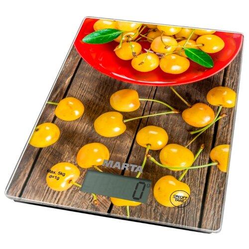 Кухонные весы Marta MT-1634 желтая черешняКухонные весы<br>
