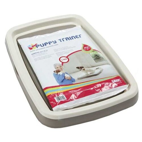 Туалет для щенков SAVIC Puppy Trainer M 46.5х33.5х4 см белый/серый