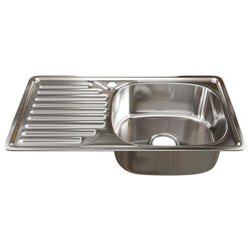 Врезная кухонная мойка 76 см Mixline 42х76 (0.6) 3 1/2 правая нержавеющая сталь/глянец врезная кухонная мойка 51 см mixline d51 0 6 3 1 2 нержавеющая сталь глянец