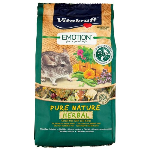 Корм для шиншилл Vitakraft Emotion Pure Nature Herbal 600 г корм для кроликов vitakraft pure nature herbal сух 600г