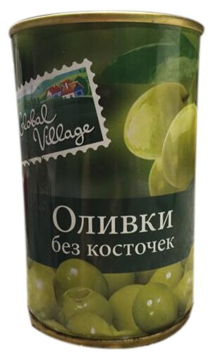 Global Village Оливки зеленые без косточки, жестяная банка 300 г