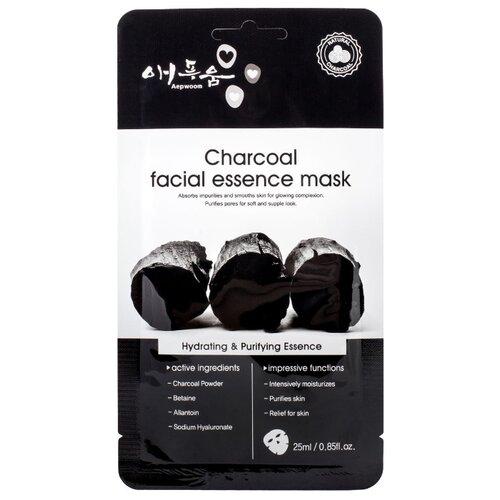 Aepwoom Маска для лица угольная Charcoal facial essence mask, 25 мл угольная маска от угрей
