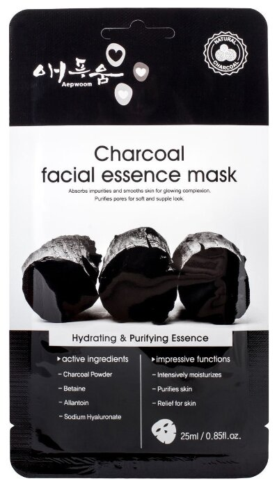 Aepwoom Маска для лица угольная Charcoal facial essence mask