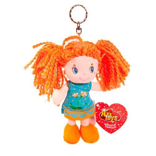 Игрушка-брелок ABtoys Кукла рыжая в голубом платье 15 см