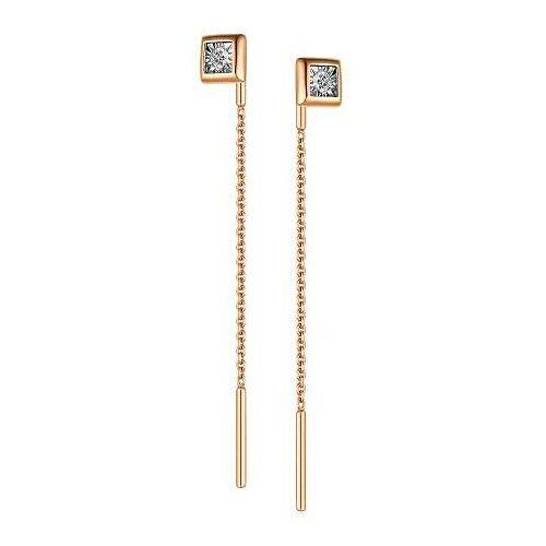АЛЬКОР Серьги с 2 бриллиантами из красного золота 23457-100