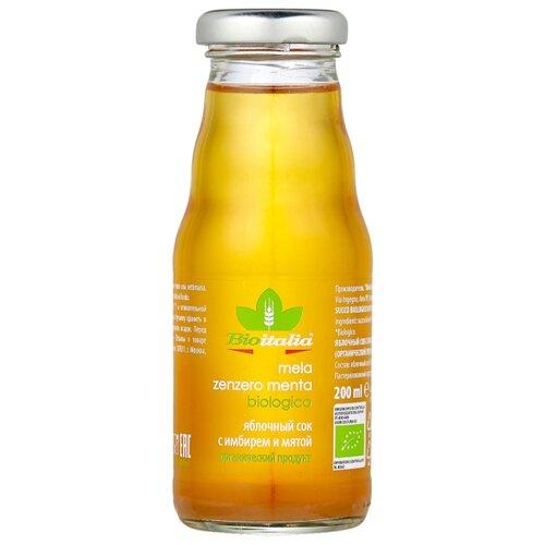 Сок Bioitalia Яблочный с имбирем и мятой, без сахара, 0.2 л noyan яблочный сок premium 200 мл