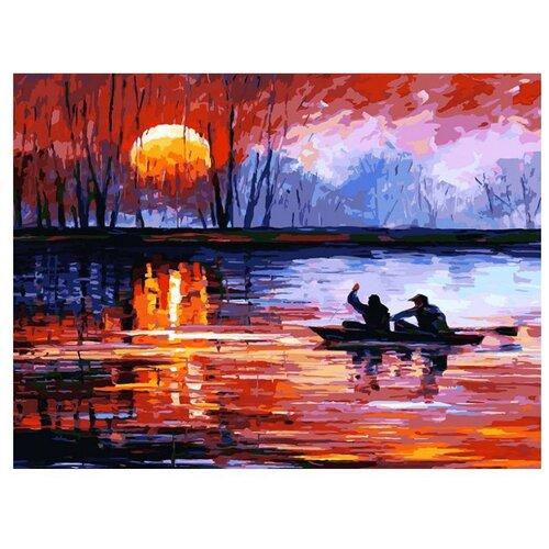 Белоснежка Картина по номерам Рыбалка на закате 30х40 см (157-AS), Картины по номерам и контурам  - купить со скидкой