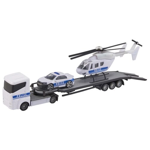 Перевозчик с машиной и вертолетом Teamsterz, белый