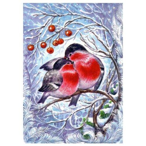 Купить Гранни Алмазная мозаика Снегири (ag6014) 27x38 см, Алмазная вышивка