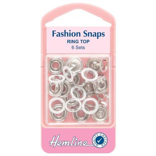 Hemline Кнопки для одежды кольцевые 445, белый, 11 мм, 6 шт.