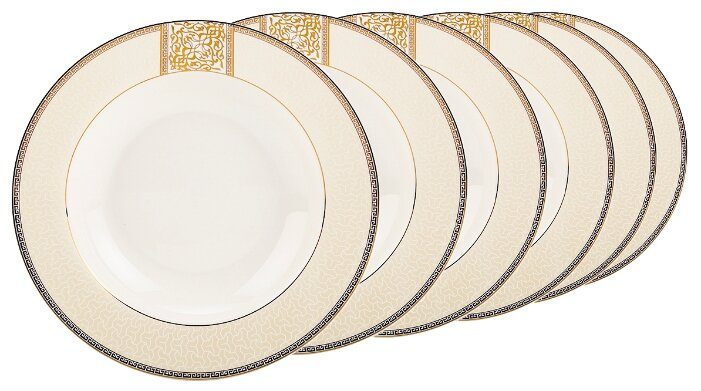 Fioretta Набор суповых тарелок Dynasty 23 см, 6 шт бежевый/белый