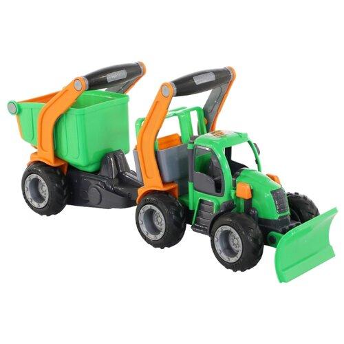 Снегоуборщик Wader Трактор ГрипТрак с полуприцепом (48400) 51 см зеленый/оранжевый мусоровоз wader гриптрак 37459 28 5 см